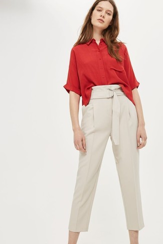 3d1fe17c ... Women's Beige Tapered Pants, Red Short Sleeve Button Down Shirt