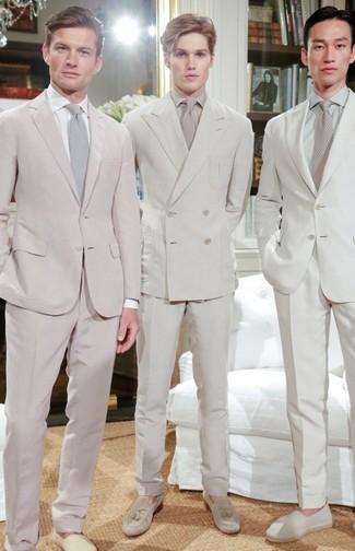 How to wear: beige tie, beige suede tassel loafers, beige dress shirt, beige suit