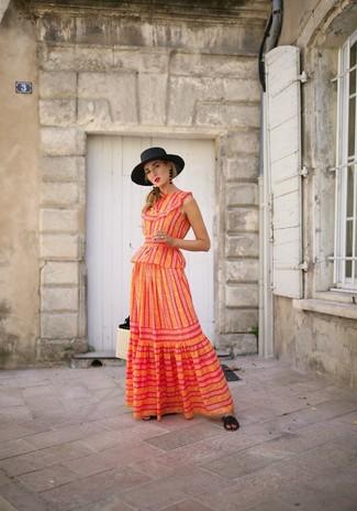 How to wear: black straw hat, beige straw tote bag, black leather flat sandals, orange vertical striped maxi dress
