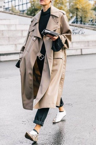 How to wear: beige trenchcoat, black crew-neck sweater, black jeans, white leather ankle boots