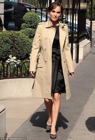 Women's Beige Trenchcoat, Black Satin Sheath Dress, Black Leather Ballerina Shoes