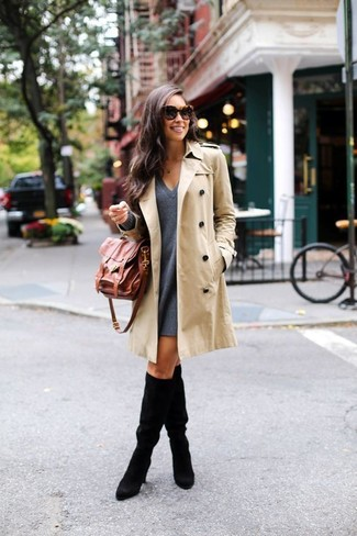 Women's Beige Trenchcoat, Charcoal Wool Swing Dress, Black Suede Knee High Boots, Brown Leather Satchel Bag