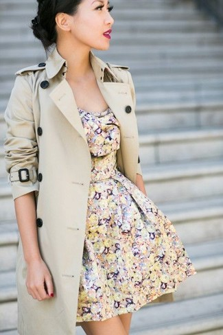 Women's Beige Trenchcoat, Multi colored Floral Skater Dress