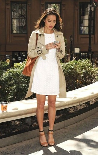 Women's Beige Trenchcoat, White Lace Sheath Dress, Tan Leather Heeled Sandals, Tobacco Leather Tote Bag