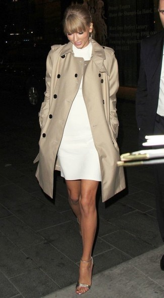 Women's Beige Trenchcoat, White Shift Dress, Gold Leather Heeled Sandals