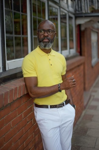 How to wear: black leather watch, dark brown leather belt, white chinos, yellow polo