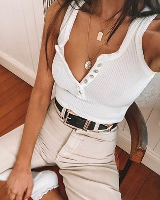 How to wear: white socks, black leather belt, beige chinos, white tank