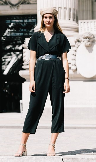 How to wear: black leather waist belt, beige beret, silver leather heeled sandals, dark green jumpsuit