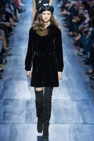 How to wear: gold choker, black leather beret, black suede over the knee boots, black velvet shift dress