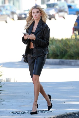 How to wear: black suede pumps, black leather bermuda shorts, black cropped top, black leather biker jacket