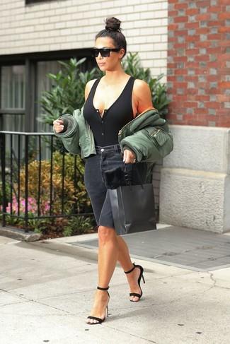 How to wear: black suede heeled sandals, black denim bermuda shorts, black knit tank, olive bomber jacket