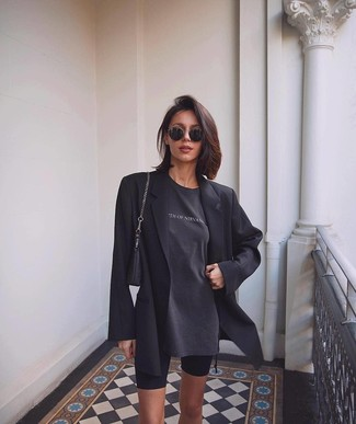 How to wear: black leather handbag, black bike shorts, charcoal print crew-neck t-shirt, black blazer