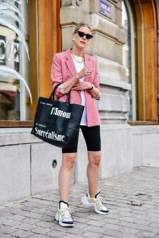 How to wear: white athletic shoes, black bike shorts, white crew-neck t-shirt, pink blazer