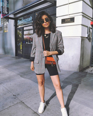 How to wear: white low top sneakers, black bike shorts, black crew-neck t-shirt, grey plaid blazer