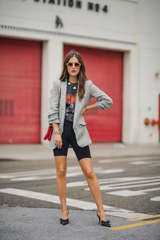 How to wear: black and white print canvas pumps, black bike shorts, charcoal print crew-neck t-shirt, grey blazer