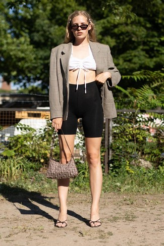 How to wear: black leather mules, black bike shorts, white cropped top, brown check double breasted blazer