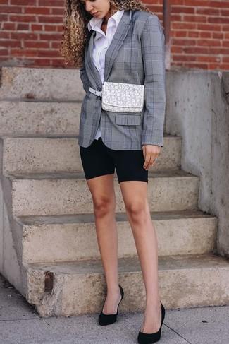 How to wear: black suede pumps, black bike shorts, white dress shirt, grey plaid blazer