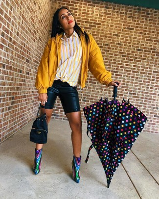 Women's Multi colored Sequin Ankle Boots, Black Leather Bike Shorts, Yellow Vertical Striped Dress Shirt, Mustard Windbreaker