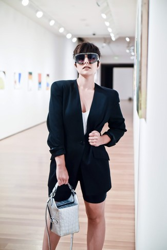 How to wear: silver leather handbag, black bike shorts, white tank, black blazer