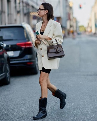 How to Wear a Gold Pendant: A white double breasted blazer and a gold pendant are a good getup to have in your current styling lineup. Introduce a pair of black leather cowboy boots to the equation et voila, the ensemble is complete.