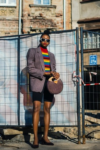How to wear: black leather pumps, black bike shorts, multi colored horizontal striped turtleneck, charcoal vertical striped blazer