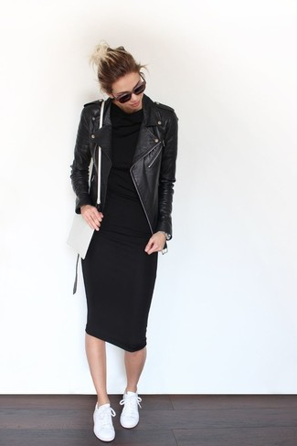 This pairing of a black leather moto jacket and a black bodycon dress is effortless, totally stylish and oh-so-easy to imitate! A good pair of white low top sneakers are sure to leave the kind of impression you want to give. An ensemble like this is ideal for in-between weather.