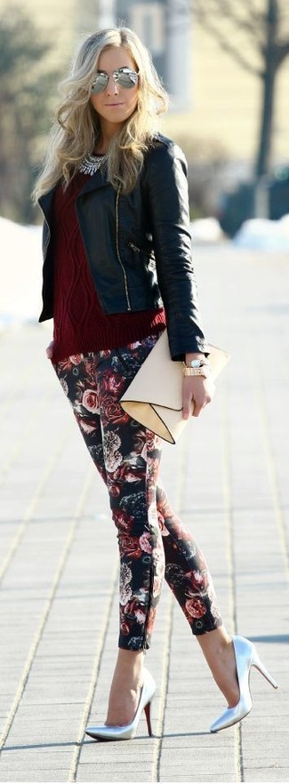 How to wear: black leather biker jacket, burgundy cable sweater, black floral skinny pants, silver leather pumps