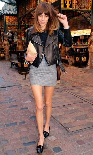 Alexa Chung wearing Black Leather Biker Jacket, Black Cardigan, Black and White Gingham Mini Skirt, Black Leather Loafers