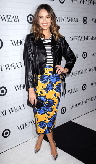 Jessica Alba wearing Black Leather Biker Jacket, White and Black Horizontal Striped Crew-neck T-shirt, Yellow Floral Pencil Skirt, Silver Leather Pumps