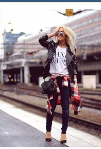 How to wear: black leather biker jacket, white and red and navy plaid dress shirt, white and black print crew-neck t-shirt, black suede pumps