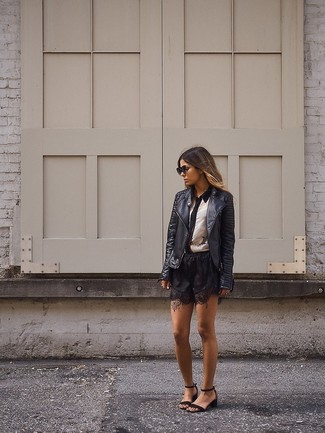 Women's Black Leather Biker Jacket, White and Black Dress Shirt, Black Lace Shorts, Black Leather Heeled Sandals