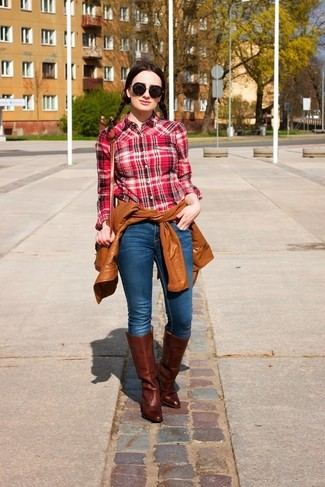 How To Wear Brown Leather Boots With A Red And Black Plaid Dress