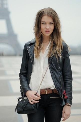 How to wear: black leather biker jacket, white chiffon dress shirt, black skinny jeans, black leather crossbody bag
