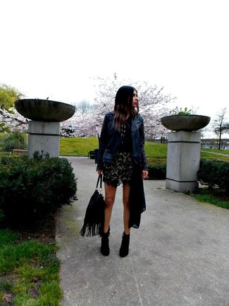 How to wear: navy leather biker jacket, black henley shirt, black lace mini skirt, black suede ankle boots