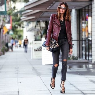 How to wear: burgundy leather biker jacket, black henley shirt, charcoal ripped skinny jeans, black leather gladiator sandals