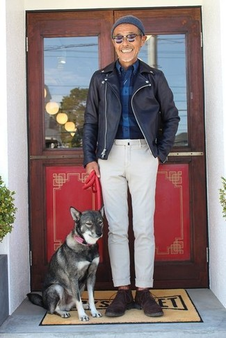 How to wear: black leather biker jacket, navy check flannel long sleeve shirt, white chinos, dark brown suede desert boots