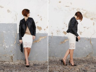 A beige long sleeve t-shirt and a white lace pencil skirt will showcase your sartorial self. Take a classic approach with the footwear and grab a pair of black leopard leather pumps.