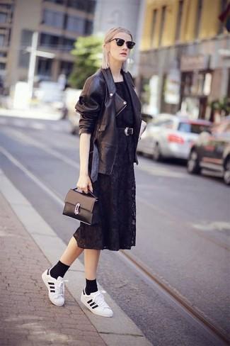 Women's Black Leather Biker Jacket, Black Lace Midi Dress, White and Black Leather Low Top Sneakers, Black Leather Satchel Bag