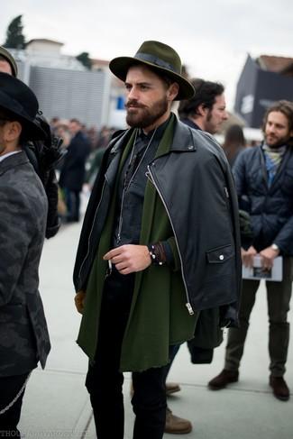 How to wear: black leather biker jacket, olive shawl cardigan, black gingham long sleeve shirt, black skinny jeans