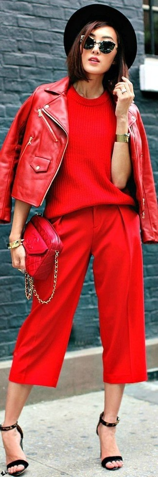 How to wear: red leather biker jacket, red short sleeve sweater, red capri pants, black leopard suede heeled sandals