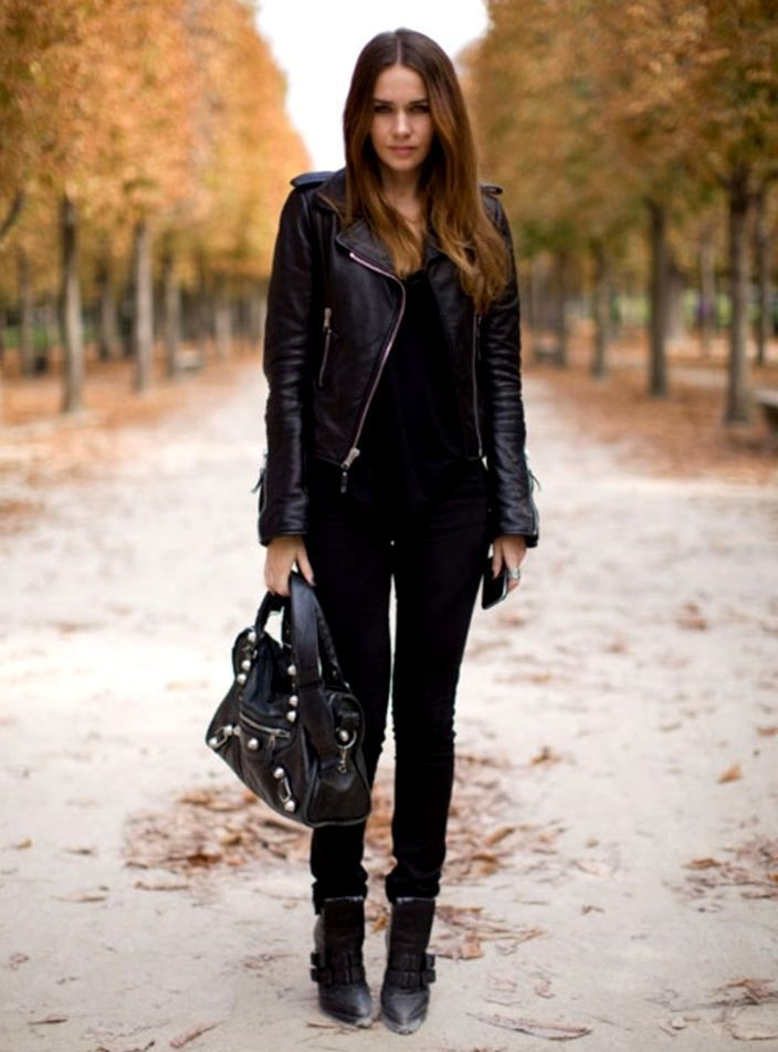 Women S Black Leather Biker Jacket Black Tank Black Skinny Jeans