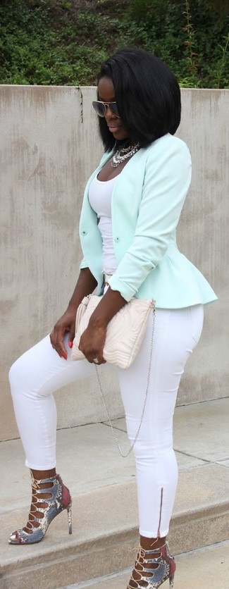 How to wear: mint biker jacket, white tank, white skinny pants, grey snake leather heeled sandals