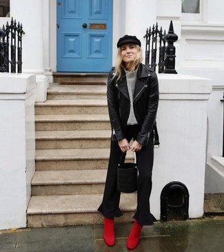 How to wear: black leather biker jacket, grey knit turtleneck, black culottes, red suede ankle boots