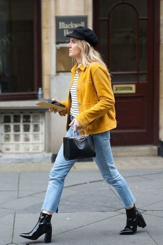 How to wear: yellow suede biker jacket, white and black horizontal striped turtleneck, light blue jeans, black leather ankle boots