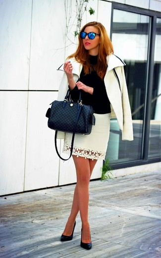 Try teaming a white motorcycle jacket with a white lace mini skirt to create a chic, glamorous look. Polish off the ensemble with black leather pumps.