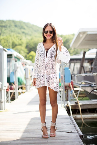 How to wear: white leather heeled sandals, black bikini pant, black bikini top, white crochet beach dress