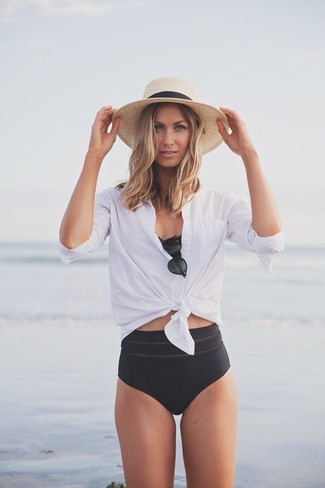 How to wear: beige straw hat, black bikini pant, black bikini top, white dress shirt