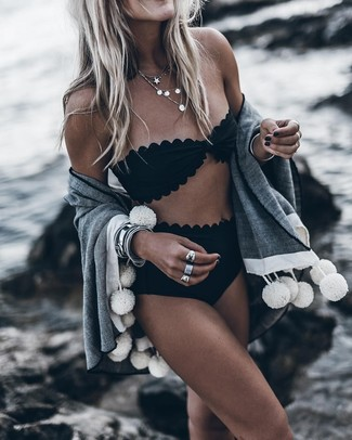 How to wear: gold necklace, black bikini pant, black bikini top, grey shawl