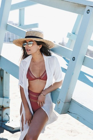 How to wear: khaki straw hat, burgundy bikini pant, burgundy bikini top, white shirtdress