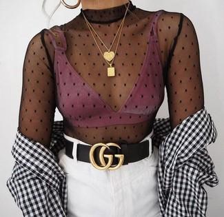 How to wear: white denim mini skirt, pink bikini top, black polka dot mesh long sleeve t-shirt, white and black gingham dress shirt